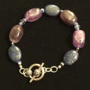 Jewelry - Lapis, Amethyst & Sterling Toggle Bracelet